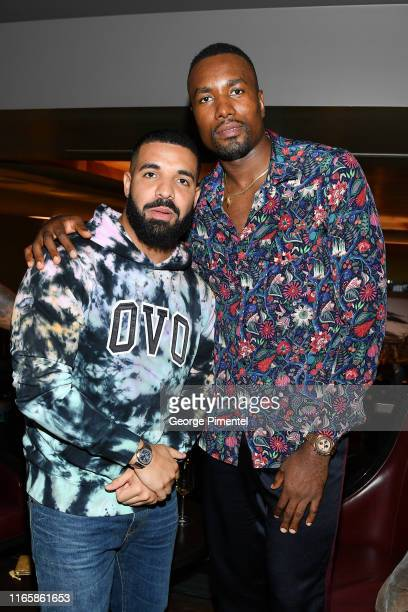 Rapper Drake and NBA Player Serge Ibaka attend the Uninterrupted Canada Launch held at Louis Louis at The St. Regis Toronto on August 02, 2019 in...