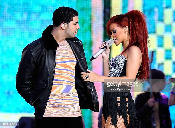 Rapper Drake and singer Rihanna perform during the 2011 NBA AllStar game halftime show at Staples Center on February 20 2011 in Los Angeles...