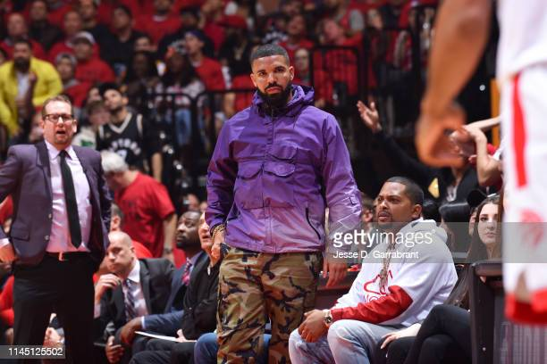 Rapper, Drake, attends a game between the Milwaukee Bucks and the Toronto Raptors during Game Three of the Eastern Conference Finals of the 2019 NBA...