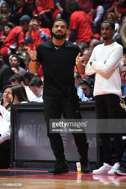 Rapper, Drake attends a game between the Toronto Raptors and Golden State Warriors during Game Five of the NBA Finals on June 10, 2019 at Scotiabank...