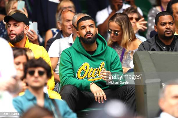 Rapper Drake attends day eight of the Wimbledon Lawn Tennis Championships at All England Lawn Tennis and Croquet Club on July 10 2018 in London...
