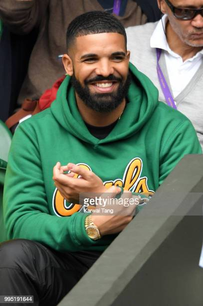 Rapper Drake attends day eight of the Wimbledon Tennis Championships at the All England Lawn Tennis and Croquet Club on July 10 2018 in London England