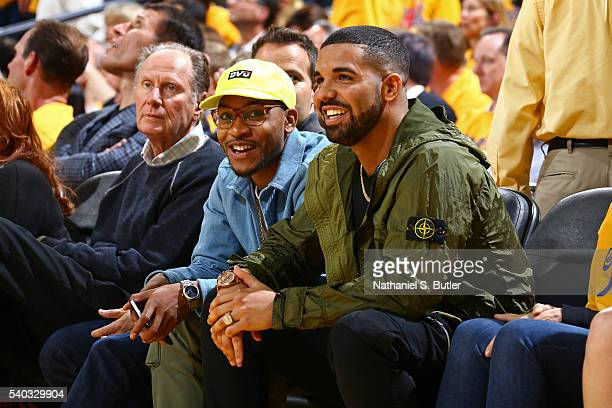 Rapper Drake attends Game Five of the 2016 NBA Finals between the Cleveland Cavaliers and the Golden State Warriors on June 13 2016 at ORACLE Arena...
