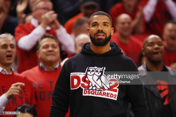 Rapper Drake attends game four of the NBA Eastern Conference Finals between the Milwaukee Bucks and the Toronto Raptors at Scotiabank Arena on May 21...