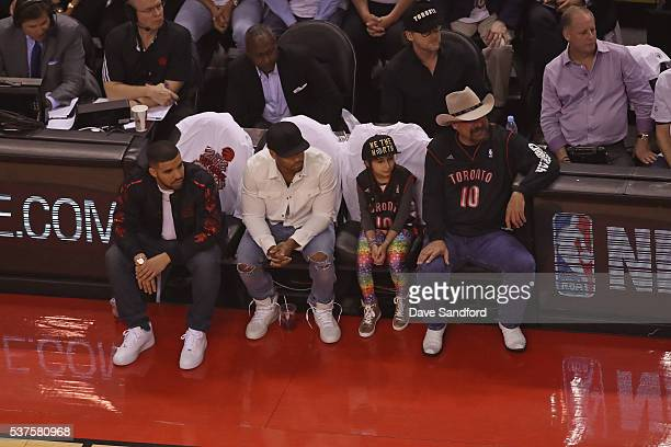 Rapper Drake attends Game Six of the NBA Eastern Conference Finals between the Cleveland Cavaliers and Toronto Raptors at Air Canada Centre on May 27...