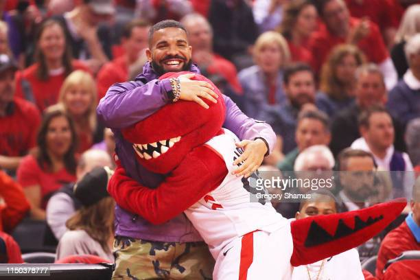 Rapper Drake attends game three of the NBA Eastern Conference Finals between the Milwaukee Bucks and the Toronto Raptors at Scotiabank Arena on May...