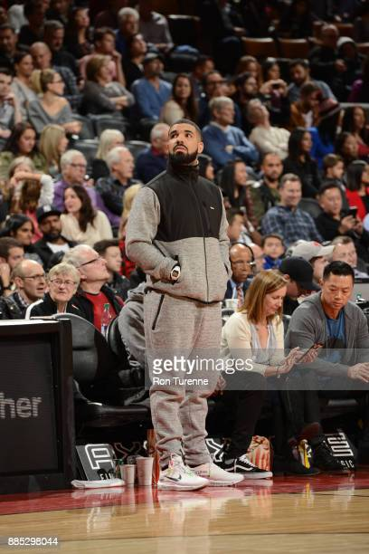 Rapper Drake attends the Indiana Pacers game against the Toronto Raptors on December 1 2017 at the Air Canada Centre in Toronto Ontario Canada NOTE...