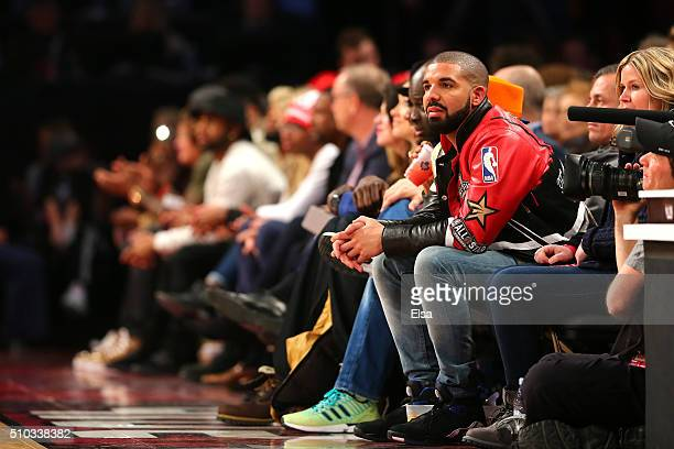 Rapper Drake looks on during the NBA All-Star Game 2016 at the Air Canada Centre on February 14, 2016 in Toronto, Ontario. NOTE TO USER: User...