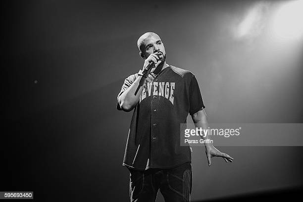 Rapper Drake performs in concert during the Summer Sixteen Tour at Philips Arena on August 25 2016 in Atlanta Georgia