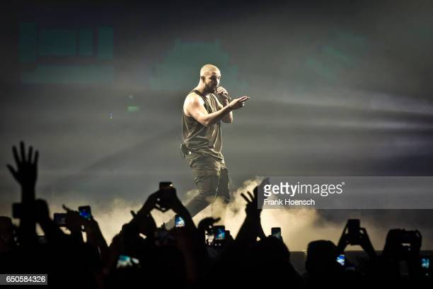 Rapper Drake performs live during a concert at the MercedesBenz Arena on March 9 2017 in Berlin Germany