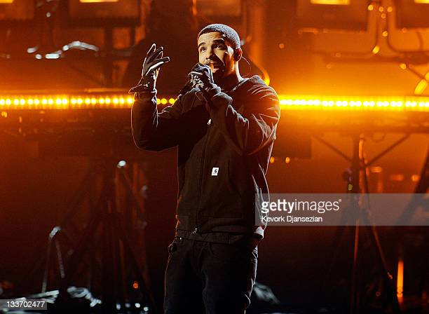Rapper Drake performs onstage at the 2011 American Music Awards held at Nokia Theatre LA LIVE on November 20 2011 in Los Angeles California