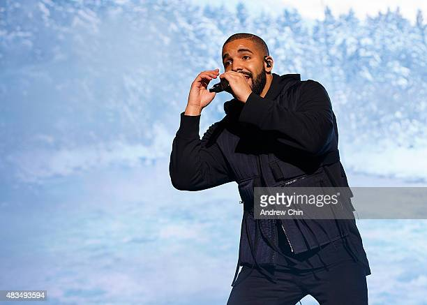 Rapper Drake performs onstage during Day 2 of Squamish Valley Music Festival on August 8 2015 in Squamish Canada