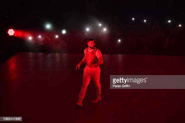Rapper Drake performs onstage during the final stop of his 'Aubrey The Three Amigos Tour' at State Farm Arena on November 18 2018 in Atlanta Georgia