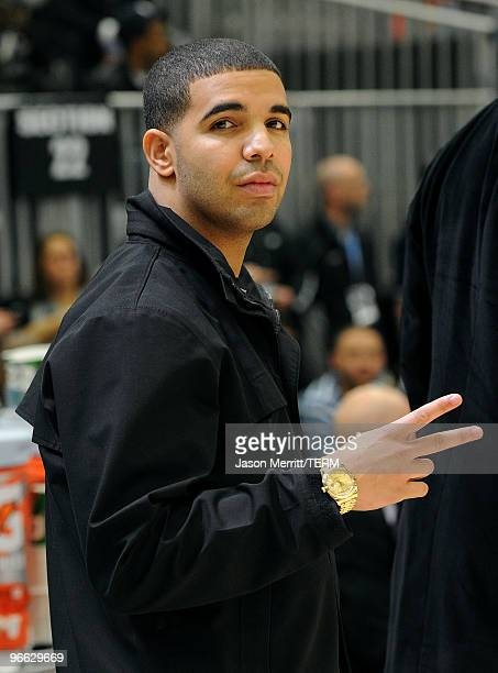 Rapper Drake poses during the NBA AllStar celebrity game presented by Final Fantasy XIII held at the Dallas Convention Center on February 12 2010 in...
