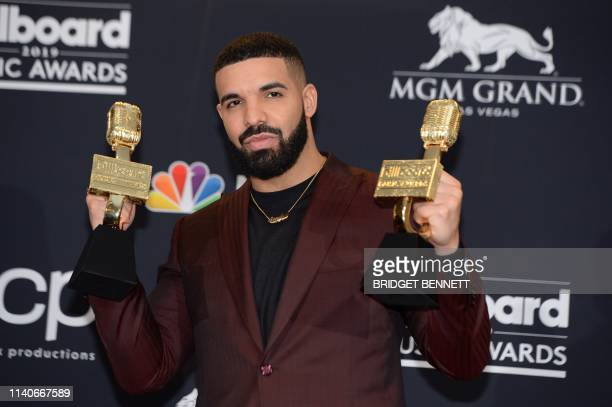 US rapper Drake poses in the press room during the 2019 Billboard Music Awards at the MGM Grand Garden Arena on May 1 in Las Vegas Nevada