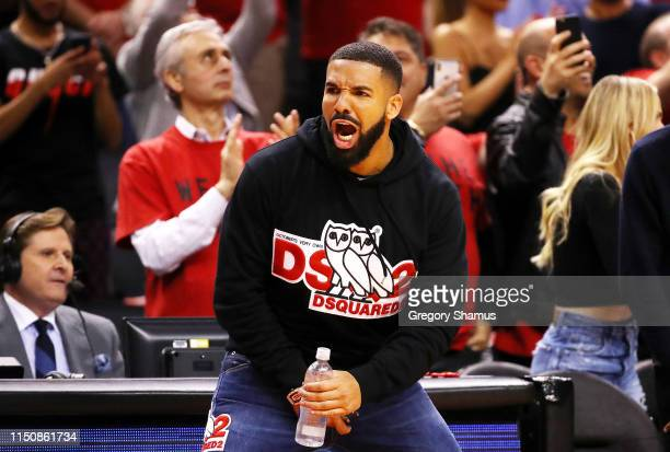 Rapper Drake reacts during game four of the NBA Eastern Conference Finals between the Milwaukee Bucks and the Toronto Raptors at Scotiabank Arena on...