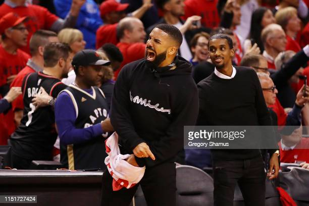 Rapper Drake reacts during game six of the NBA Eastern Conference Finals between the Milwaukee Bucks and the Toronto Raptors at Scotiabank Arena on...