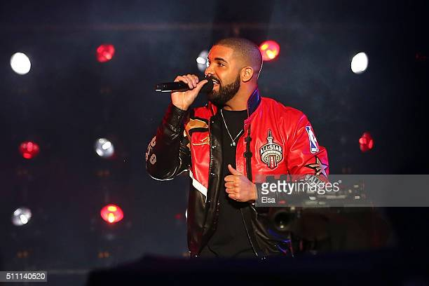 Rapper Drake speaks during introductions before the NBA All-Star Game 2016 at the Air Canada Centre on February 14, 2016 in Toronto, Ontario. NOTE TO...