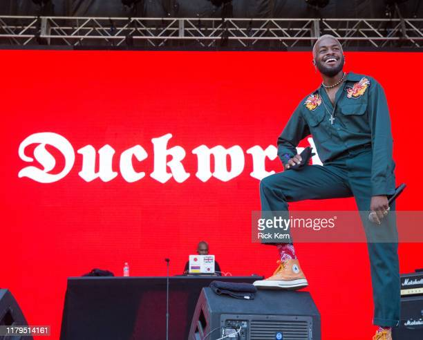 Rapper Duckwrth performs onstage during weekend one, day three of Austin City Limits Music Festival at Zilker Park on October 04, 2019 in Austin,...
