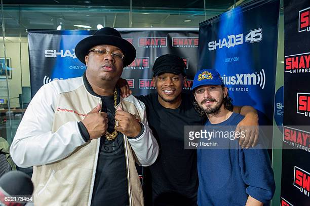 Rapper E40 with DJ Sway Calloway and actor Shia LaBeouf during the Morning' on Eminem's Shade 45 at SiriusXM Studio on November 10 2016 in New York...