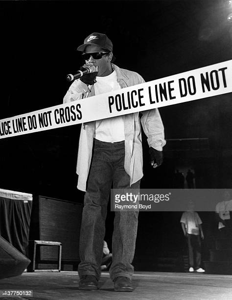 Rapper EazyE from NWA performs during the 'Straight Outta Compton' tour at Kemper Arena in Kansas City Missouri in 1989
