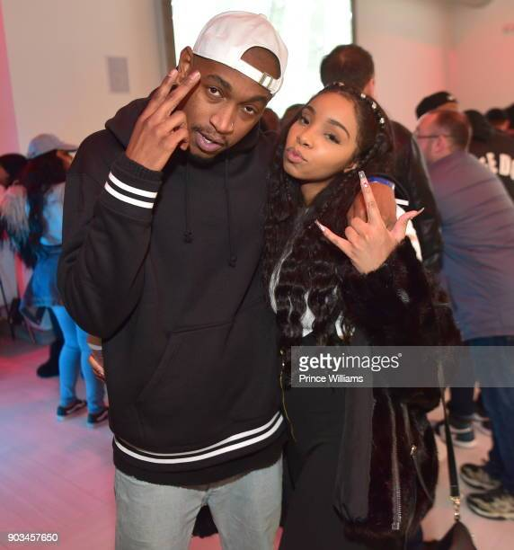Rapper Eearz and Light Skin Keisha attend the 2018 Interscope National Championship Watch Party at Bytes Restaurant on January 8 2018 in Atlanta...