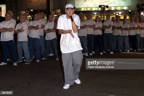Rapper Eminem attends rehearsals for the 2000 MTV Video Music Awards at Radio City Music Hall in New York City September 6 2000