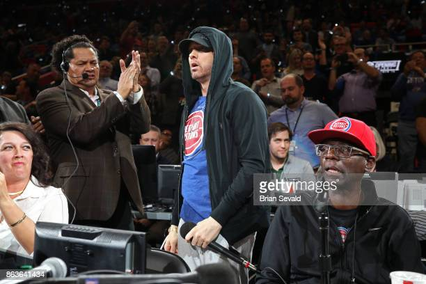 Rapper Eminem attends the Charlotte Hornets game against the Detroit Pistons at the Little Caesars Arena in Detroit Michigan on October 18 2017 NOTE...