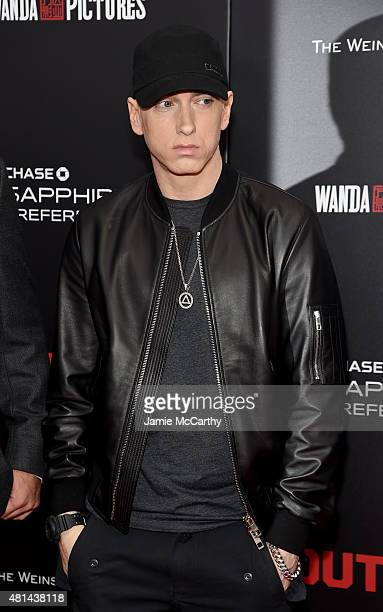 "Rapper Eminem attends the New York premiere of ""Southpaw"" at AMC Loews Lincoln Square on July 20, 2015 in New York City."