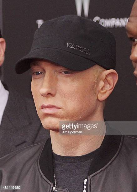Rapper Eminem attends the 'Southpaw' New York premiere at AMC Loews Lincoln Square on July 20 2015 in New York City