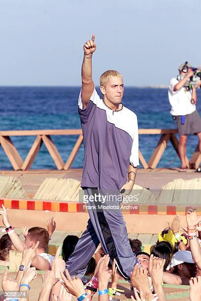 Rapper Eminem performs during MTV's Spring Break 2000 in Cancun Mexico