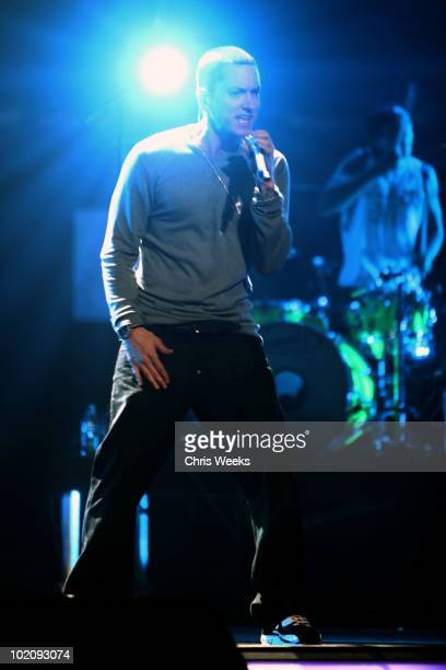 Rapper Eminem performs onstage at the Activision E3 2010 preview held at Staples Center on June 14, 2010 in Los Angeles, California.