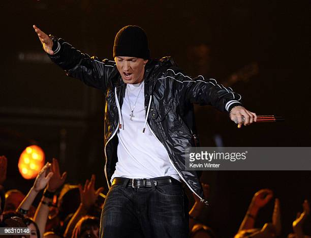 Rapper Eminem performs onstage during the 52nd Annual GRAMMY Awards held at Staples Center on January 31, 2010 in Los Angeles, California.