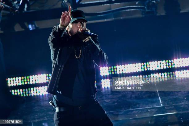 US rapper Eminem performs onstage during the 92nd Oscars at the Dolby Theatre in Hollywood California on February 9 2020