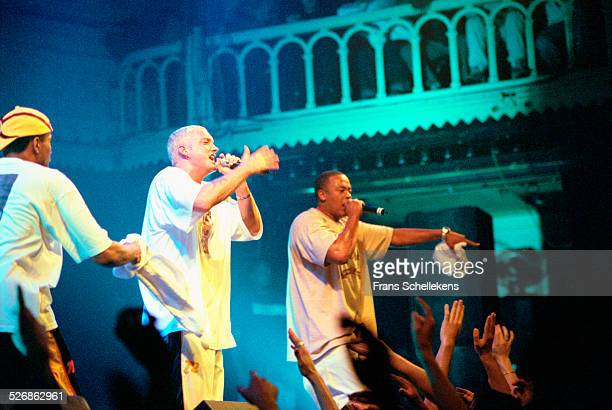 Rapper Eminem performs with Dr Dre at the Paradiso on April 30th 2000 in Amsterdam Netherlands