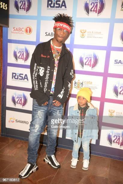 Rapper Emtee and son Avery during the 24th annual South African Music Awards ceremony at Sun City on June 02 2018 in Rustenburg South Africa The...