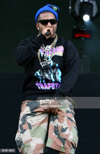 Rapper Evan Ingersoll aka Chuck Inglish of The Cool Kids performs on the main stage during day 1 of the O2 Wireless Festival 2008 on July 3 2008 in...