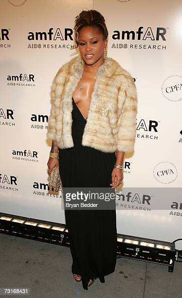 Rapper Eve attends the AmFAR Gala honoring the work of John Demsey and Whoopi Goldberg at Cipriani 42nd Street January 31 2007 in New York City