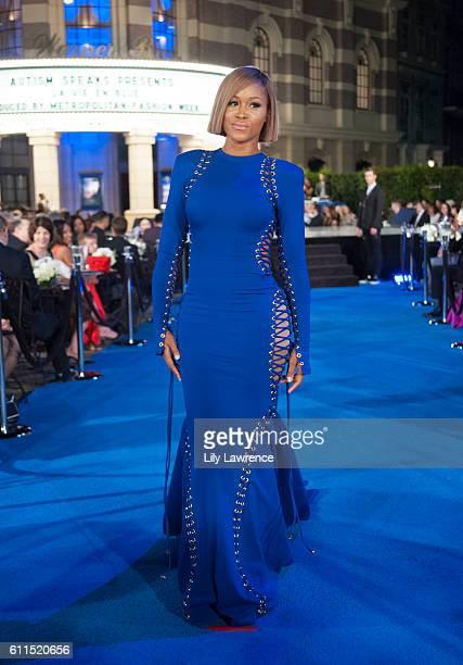 Rapper Eve models fashion on the runway at Autism Speaks 'La Vie En Blue' Fashion Gala at Warner Bros Studios on September 29 2016 in Burbank...