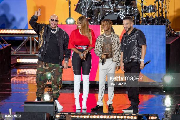 Rapper Fat Joe on stage with Remy Ma Swae Lee and French Montana as they perform On ABC's Good Morning America at Rumsey Playfield Central Park on...