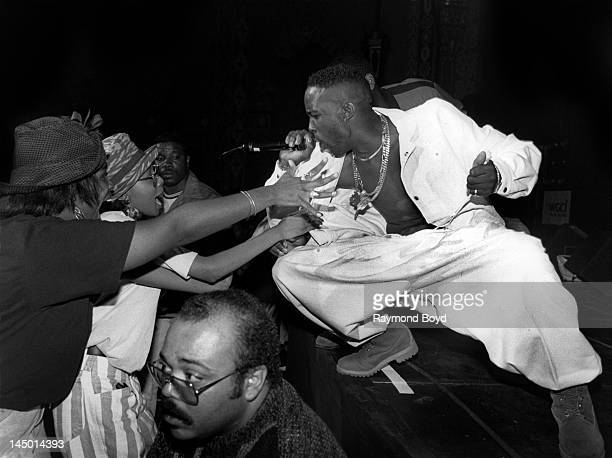 Rapper Father MC performs at the Regal Theater in Chicago Illinois in SEPTEMBER 1992