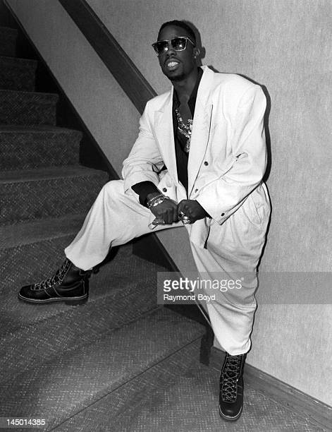Rapper Father MC poses for photos backstage at the Holiday Star Theatre in Merrillville Indiana in JANUARY 1991