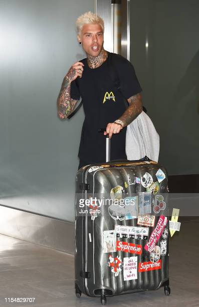 Rapper Fedez is seen upon arrival at Narita International Airport on July 10 2019 in Narita Japan