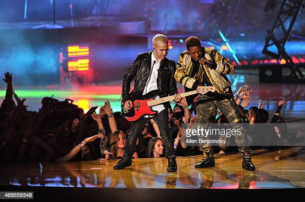 Rapper Fetty Wap and musician Pete Wentz perform onstage during The 2015 MTV Movie Awards at Nokia Theatre LA Live on April 12 2015 in Los Angeles...