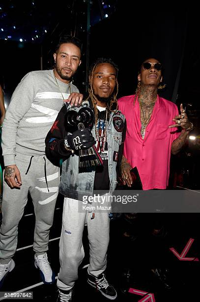 Rapper Fetty Wap winner of Best New Artist and Wiz Khalifa backstage at the iHeartRadio Music Awards which broadcasted live on TBS TNT AND TRUTV from...