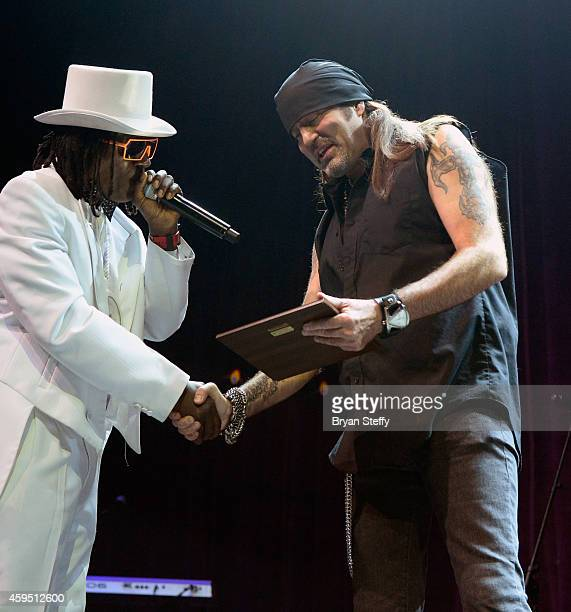 Rapper Flavor Flav and television personality and singer Danny Koker perform during The 5th annual Vegas Rocks Magazine Music Awards at The Pearl...