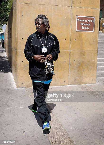 Rapper Flavor Flav appears outside the courthouse after making an appearance at the Clark County Regional Justice Center during his arraignment on...