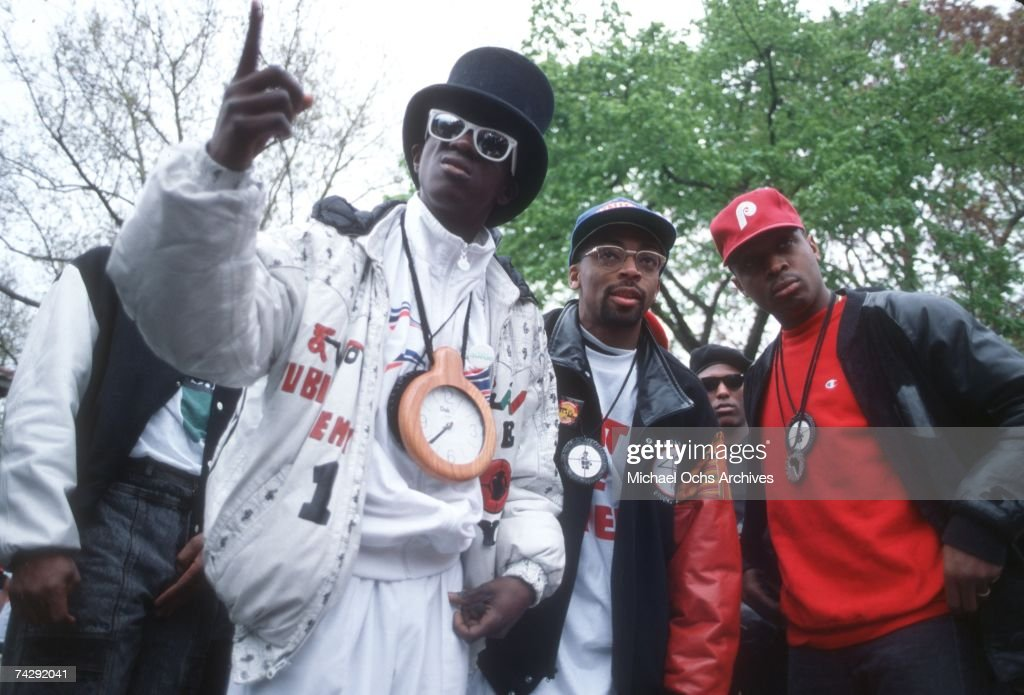 Rapper Flavor Flav, director Spike Lee and Chuck D of the rap group 'Public Enemy' film a video for their song 'Fight The Power' directed by Spike Lee in 1989 in New York, New York.