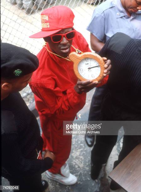 Rapper Flavor Flav of the rap group 'Public Enemy' at the filming of a video for their song 'Fight The Power' directed by Spike Lee in 1989 in New...
