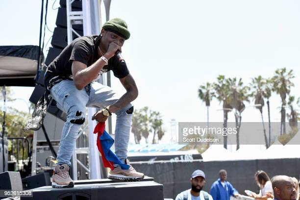 Rapper Flipp Dinero performs onstage during the Smokers Club Festival at The Queen Mary on April 28 2018 in Long Beach California